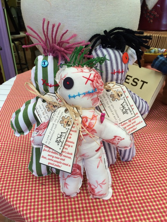 "Voodoo Doll, Cloth doll, Humorous Primitive Doll, Hand Stitched Doll, White Magic, Handmade Fabric Hex Doll, 9 1/2"" Rag Doll, Worry Doll"