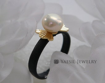 Hand Made Leather Ring, Small Freshwater Pearl Ring, Knuckle Ring, Fashion Ring, Stackable Ring
