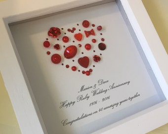 Ruby Wedding Gift For Parents : ... ruby gift ruby anniversary gift 40th wedding anniversary gift
