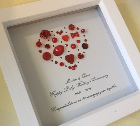 Personalised 40th Wedding Anniversary Gift : gift, personalised 40th ruby gift, ruby anniversary gift, 40th wedding ...