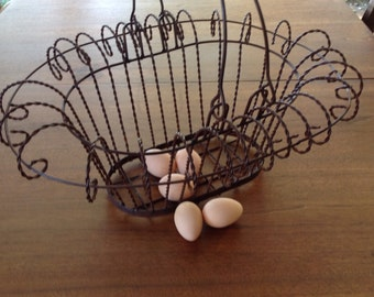 Large Decorative Metal Basket with Patina
