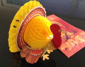Turkey Honeycomb Centerpiece Vintage Hallmark