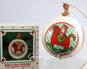 1986 Hallmark Baby's First Christmas Keepsake Ornament 1st Satin Ball Bulb Vintage Teddy Bear Rocking Horse RARE