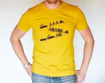 Peloton - Cycling Up Hill - Hand Drawn & Hand Printed T Shirt