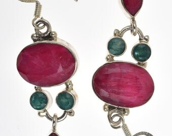 Eemerald and Ruby Earrings