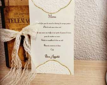 Romantic wedding menu chic ivory and gold