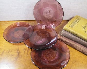 Fortecrisa - Plummy Purple Glass - Small Plates - Embossed Flower - Made in Mexico - Set of Four (4)