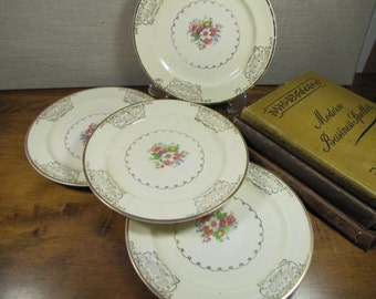 Vintage Paden City Pottery Bread and Butter Plates - Gold Filigree and Pink Floral Design - Set of Four (4)