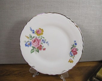 Vintage Dessert Plate - Pink, Blue and Yellow Flowers - Gold Accent