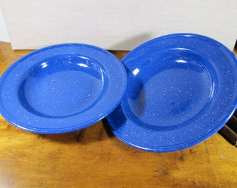 Speckled Blue Enamelware Shallow Bowls - Set of Two (2)