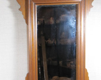 Vintage Wood Frame Wall Mirror - Stained