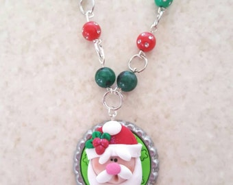 Santa Polymer Clay Bottle Cap Beaded Necklace, Polymer Clay Santa Christmas Necklace, Santa Bottle Cap Necklace
