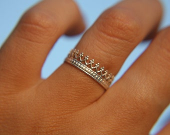 CROWN RING · sterling silver ring · made to order · sterling · stacker · ring · handmade ring