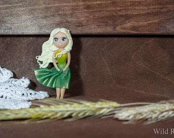Brooch doll made of polymer clay handmade green