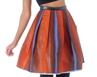 African print pleated mini skirt with leather band