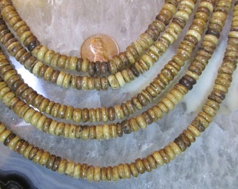 3mm by 6mm Bone Rondelles-  One 14 to 15 Inch full strand of India bone beads- Antiqued Golden Brown Tones- Tribal/ rustic/ ethnic/ boho