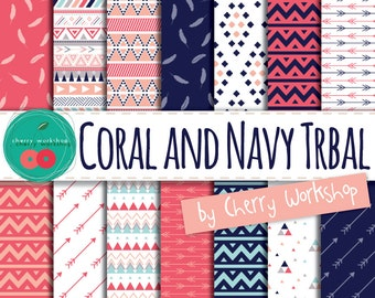 """Tribal Digital Paper """"Coral and Navy Tribal"""" digital paper with tribal patterns in coral and navy corals / Instant Download /printable paper"""