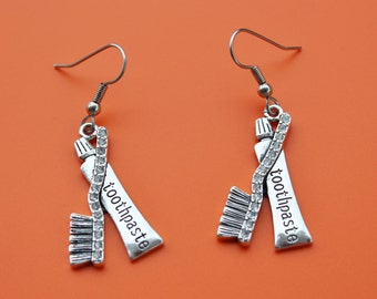 DENTAL TOOTHPASTE and toothbrush EARRINGS,dentist,dental assistant,dental hygienist,dental,toothbrush,1552