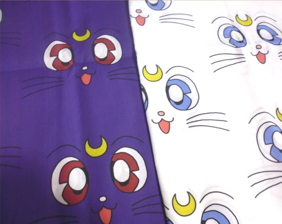 Sailor moon large print fabric 2 styles 1 yard by for Moon print fabric