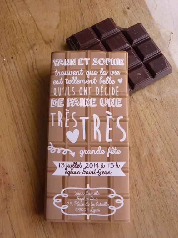 Fabulous faire-part pacs/fête tablette chocolat VM02