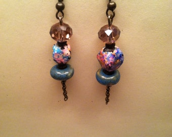 A pair of  earthy multi color and pink crystal turquoise earrings
