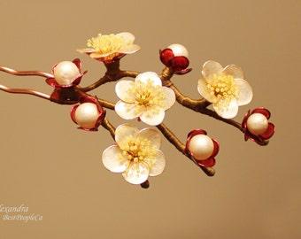 Apple Blossom Hair Pin Stick Japanese Kanzashi Resin Wedding Accessories OOAK Transparent