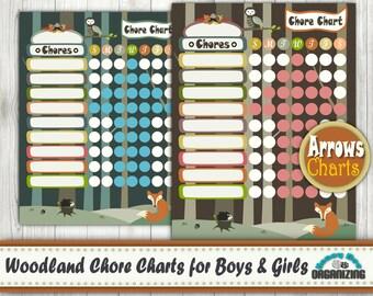 Kid's Chore Chart - Woodland Chore Charts for Children - Printable Chore Chart for Girls and Boys -  Homework Checklist PDF files - 8.5x11''
