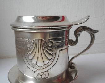 stunning vintage French silver plated metal coffee press / coffee strainer