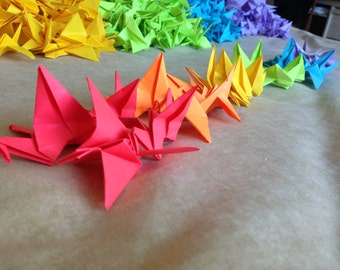 1000 Rainbow Coloured Origami Cranes