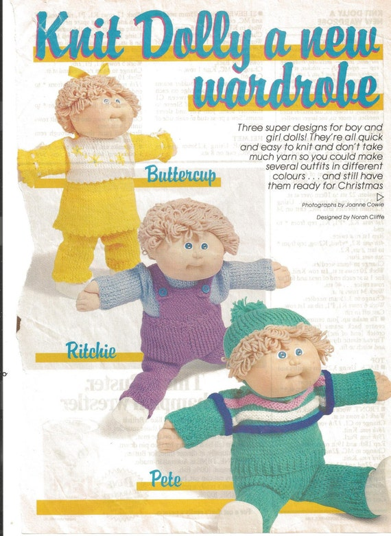 Knitting Patterns For Cabbage Patch Dolls : Vintage Knitting Pattern Cabbage Patch Doll Three Outfits