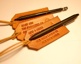 Personalized bespoke leather luggage tag and strap with your name, contact info, and favorite quote!