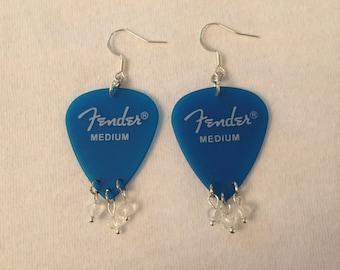 Blue Guitar Pick Gem Earrings