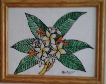Stain glass  Frangipani  tree