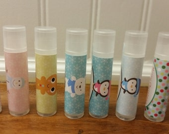 Winter Holiday Classroom Treats Favors!  Personalized Lip Balms All Natural 5 Flavors