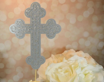 Grey Cross Cake Topper - Baptism - Confirmation - Communion - Religious Celebration Decor and Cake Topper