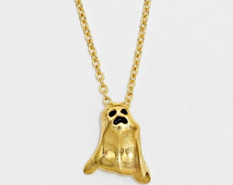 Gold Ghost Pendant Necklace