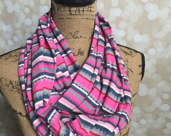 Pinks & Grays Scalloped Stripe Knit Secret Zipper Pocket Infinity Scarf--Short Length