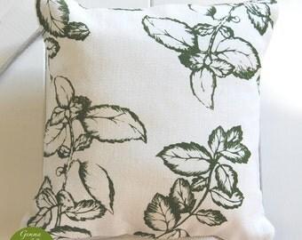 "Summer Leaves Screen-Printed Cushion - Green/Linen 13""x13"""