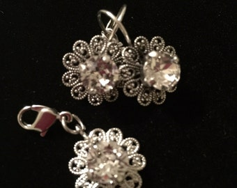 Crystal pendant with lace accent