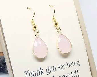 Bridesmaid gift Soft PInk Earrings. Teardrop earrings. Bridesmaid earring. bridesmaids jewelry, Wedding jewelry, Wedding Party gifts