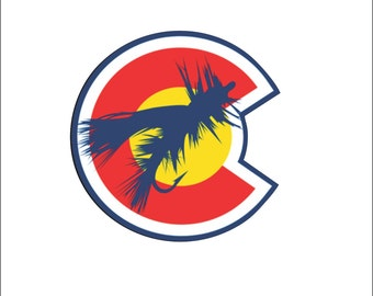 Fly Fishing Bait Colorado Flag Car Bumper Sticker, Window Sticker, Laptop, Phone Case High Quality Vinyl Decal