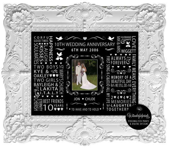 10th Anniversary Wedding Gifts: Custom 10th Wedding Anniversary Gift / For Wife / For Husband