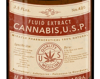 "Cannabis Fluid Extract, US Hemp Co. Medicine, Poison, 100% Natural Cannabis Extract, Oil Can Metal Sign 14""x20"""