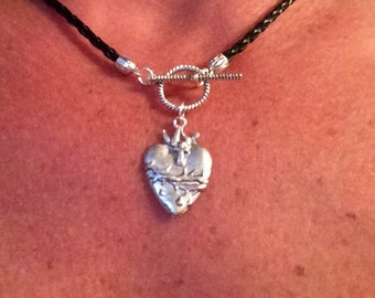 Heart necklace; Heart pendant necklace; sacred heart pendant; sacred heart necklace;