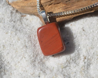 Red Jasper Stone Sterling Silver Necklace