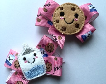 Hair feltie bow clip cookies & milk ribbon