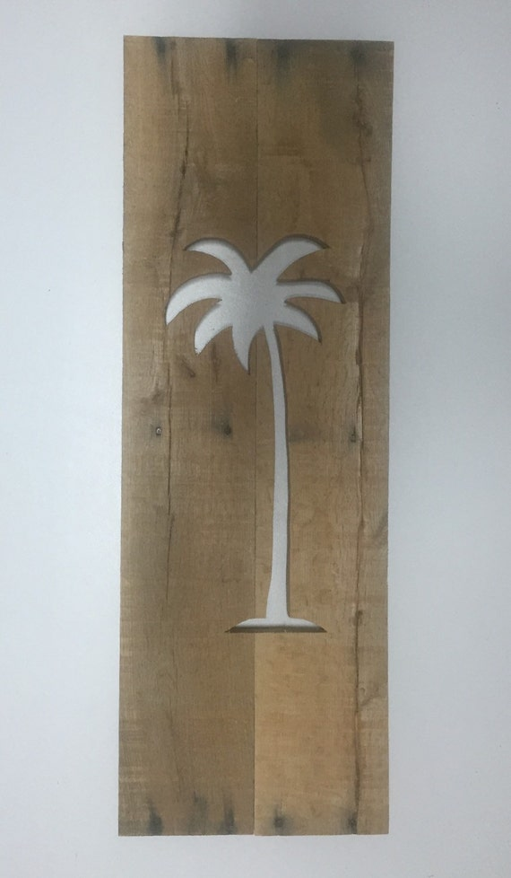 palm tree cutout from reclaimed wood wall art home decor. Black Bedroom Furniture Sets. Home Design Ideas