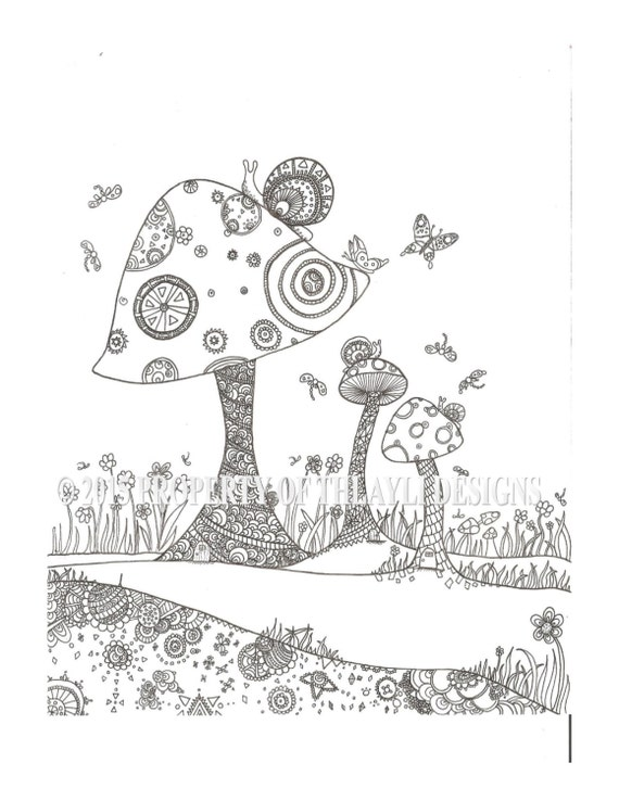 items similar to woodland mushrooms and snails fantasy fairy hand drawn digital downloadable and. Black Bedroom Furniture Sets. Home Design Ideas