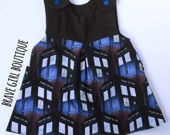 TARDIS Dress, Police Box, Doctor Who Inspired Pinafore, Baby Girls NB-5T