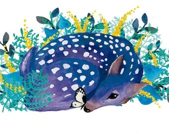 Blue Fawn Art print. Nursery  wall art, nursery art print, nursery art deer, kitsch decor, kids room decor, kids art, deer art print